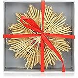 com-four® 4X Strohsterne im Mix-Set - Stroh-Anhänger für den Weihnachtsbaum - natürlicher Christbaum-Behang - Weihnachtsdekoration - 18 cm