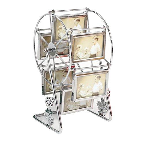 ultnice drehbar Riesenrad Bilderrahmen Windmühle Fotorahmen Tisch Dekoration (Silber)