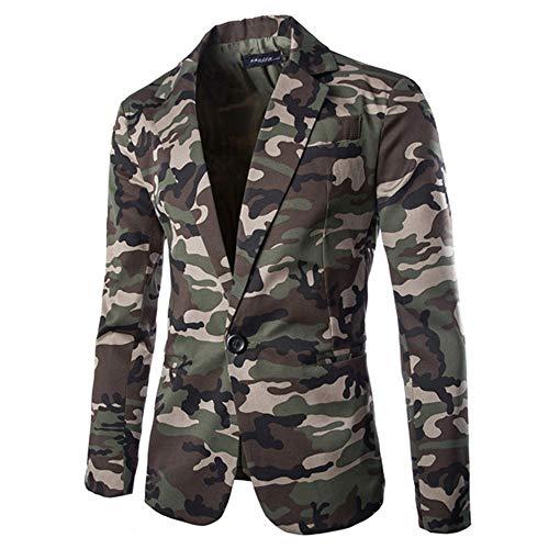 FIRERO Men's Autumn Winter SuitCoat Camouflage Jacket Long Sleeve Slim Coat(Army Green,XX-Large)