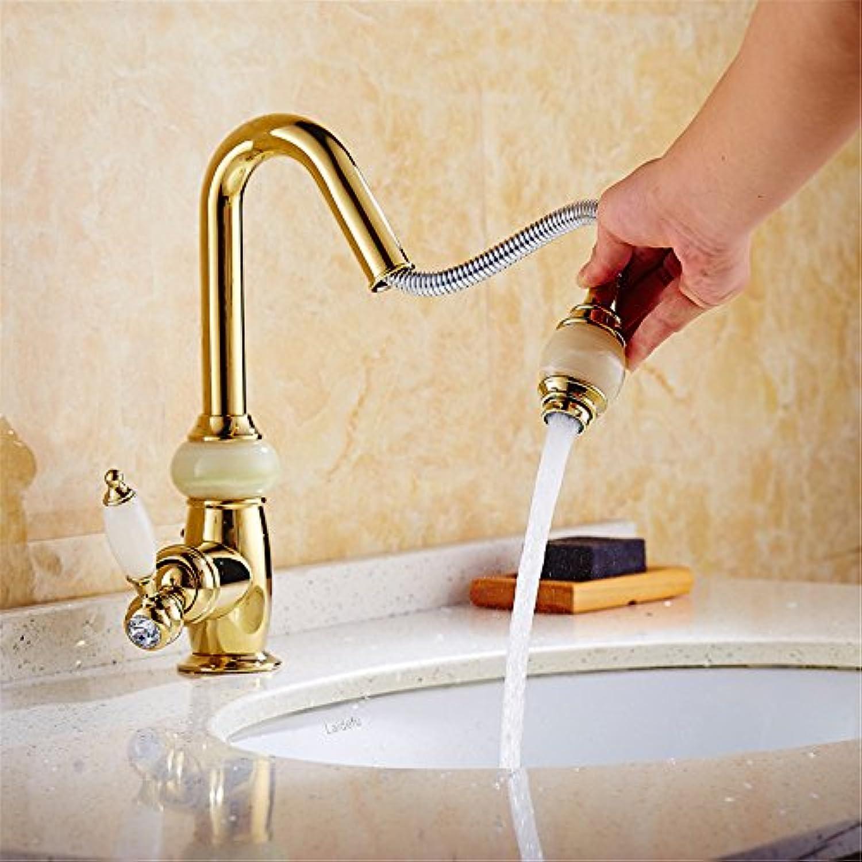 Bijjaladeva Wasserhahn Bad Wasserfall Mischbatterie Waschbecken WaschtischAlle Kupfer heie und Kalte Goldenes Waschbecken Tisch Becken Tabelle ausziehbaren Wasserhahn Ziehen