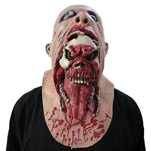 Gusspower Halloween Masken, Bloody Zombie Maske Melting Gesicht Erwachsene Latex Kostüm Walking Dead Halloween Scary Maske Horror Adult Kostüm Zubehör