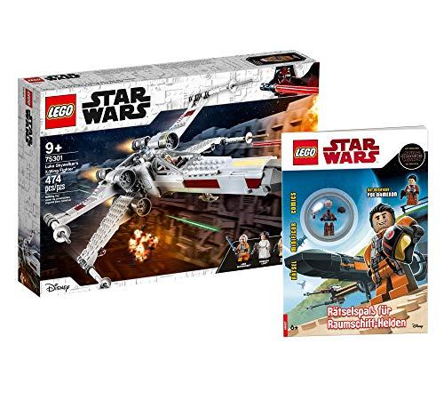 Collectix Kit Lego Star Wars Luke Skywalkers X-Wing Fighter 75301 + Jeu d'énigmes Lego Star Wars pour héros de vaisseau spatial (couverture souple)