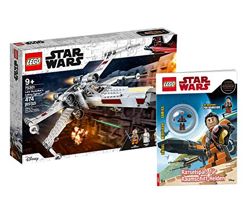 Collectix Lego Star Wars Luke Skywalkers X-Wing Fighter 75301 + Lego Star Wars - Juego de figuras de héroes espaciales (cubierta blanda)