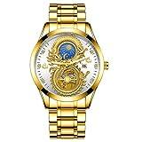 Reloj KONGWST Reloj no mecánico para Hombre Reloj Impermeable para Hombre Sun Moon Star Calendario Reloj Dorado par dragón y fénix Cara Completa Dorado Blanco