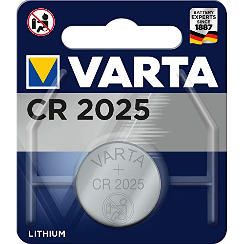 Varta CR2025 Lithium 3 V Non-Rechargeable Battery – Non-Rechargeable, Button/Coin, 3 V, Lithium Batteries (CR2025, Silver, 20 mm)