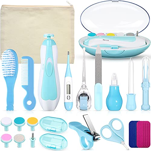 Baby Grooming Kit 32 in 1 Baby Electric Nail Trimmer Set Baby Nasal Aspirator Kit for Infant Include Toddler Nail Clippers Medicine Dropper Comb Brush Baby Haircut Tools Storage Bag (Blue)