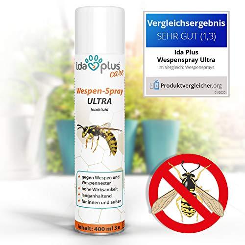 Ida Plus - Wespenspray Ultra gegen Wespen & Hornissen - Bekämpft alle Wespen & Wespennester in Haus, Garten, Dachböden – mit Sofortwirkung – Insektenvernichter zur Wespenbekämpfung – Anti Wespenspray