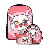 FNaF Mangle - Mochilas ligeras y lindas para la escuela, niños y niñas, mochila con bolsa de almuerzo