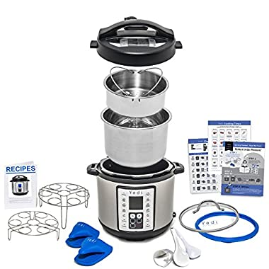 9-in-1 Multi-Use Instant Programmable Pressure Cooker, with Endless Recipes, Deluxe Accessory Kit and 6 Quart Stainless Steel Inner Pot by Yedi Houseware