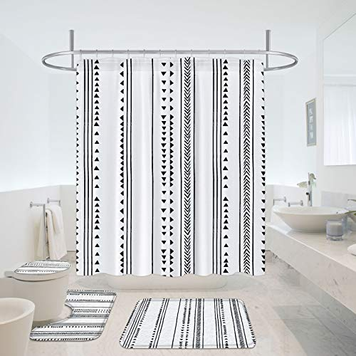 MitoVilla Black and White Boho Shower Curtain Set with Modern Geometric Bathroom Rugs and Toilet Lid Cover, Bohemian Tribal Bathroom Sets with Black Shower Curtains and Rugs Mats Set and Accessories