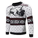 N\P Hombres Elk Imprimir Navidad Jerséis Casual Otoño Invierno Suéteres O-Cuello de Manga Larga Suéter de Punto