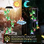 Dekopia Solar Wind Chimes 8 Hummingbird Outdoor Decor Color Changing Light Sensor Solar Power eco Friendly Easy to use…