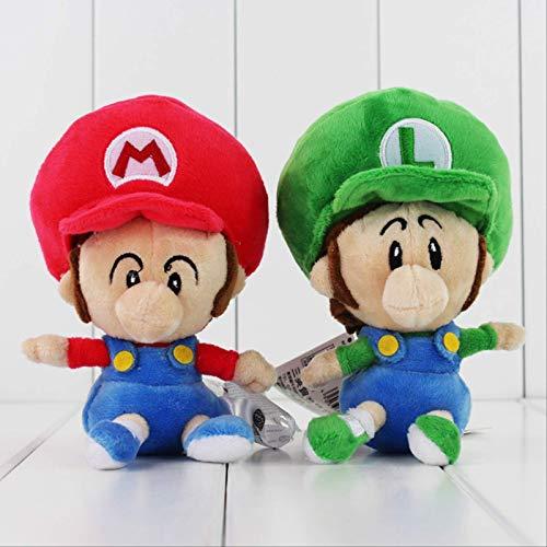 GHJU 2 Styles Netter Super Mario Luigi Lauf Mario Luigi Mario Star weiches Plüsch-Baby-Mario Bros-Puppe spielt 13cm...