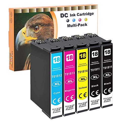 D&C 5x Cartuchos de impresora compatibles para Epson 18 18XL para Epson Expression Home XP-102 XP-201 XP-202 XP-203 XP-205 XP-206 XP-210 XP-212 XP-215 XP-225 XP-302 XP-305 XP-310 XP-312 XP-313