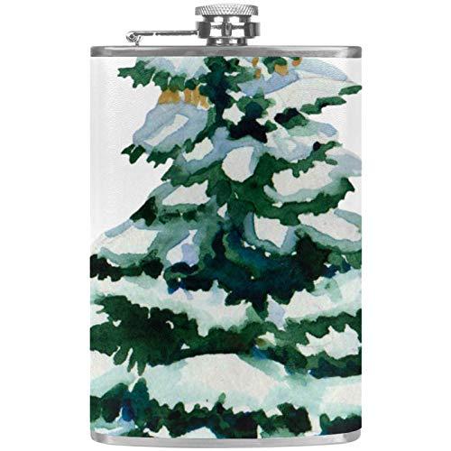 Flacher Likör-Flasche mit Tannenbaum, 237 ml, mit Trichter, Edelstahl, 100 % auslaufsicher