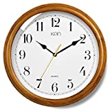 KPIN 14 inch Silent Real Wood Wall Clock Silent Non Ticking Classtic Style Clock,Decorative for Living Room & Bedroom & Home& Office (Cherry Wood, 14 Inch)
