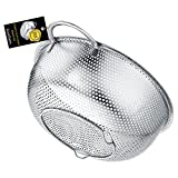 BasicForm Micro-Perforated Colander with Handle and Base Stainless Steel 22.5cm