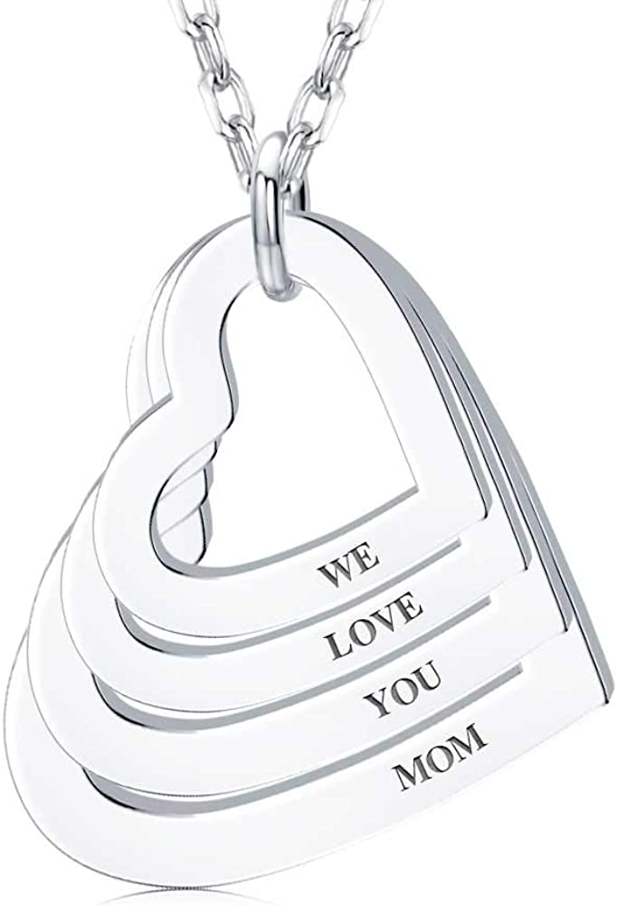 DayOfShe 18K Gold Plated Engraved Necklace 2-4 with Names for Rare Sales results No. 1 Wo