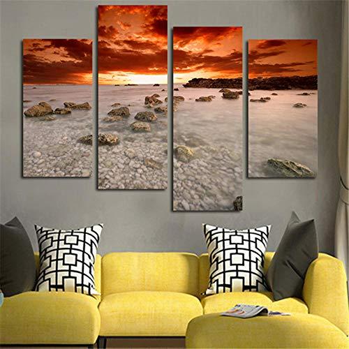 SHHSGZ Piezas Cuadro en Lienzo Moderno Imágenes Decoración de la Sala de Estar Pared Mar del Amanecer con Piedra y HD Pinturas Gran Cuadro de pintura-160x100cm(64x40Pulgadas