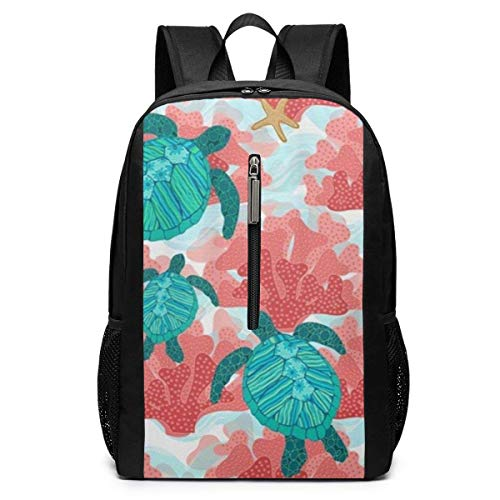 TRFashion Sac à Dos Turtles in The Coral Laptop Backpack 17 inches Travel Gym Bag Yoga Bag School Bag Book Bag for Men Women Teenagers