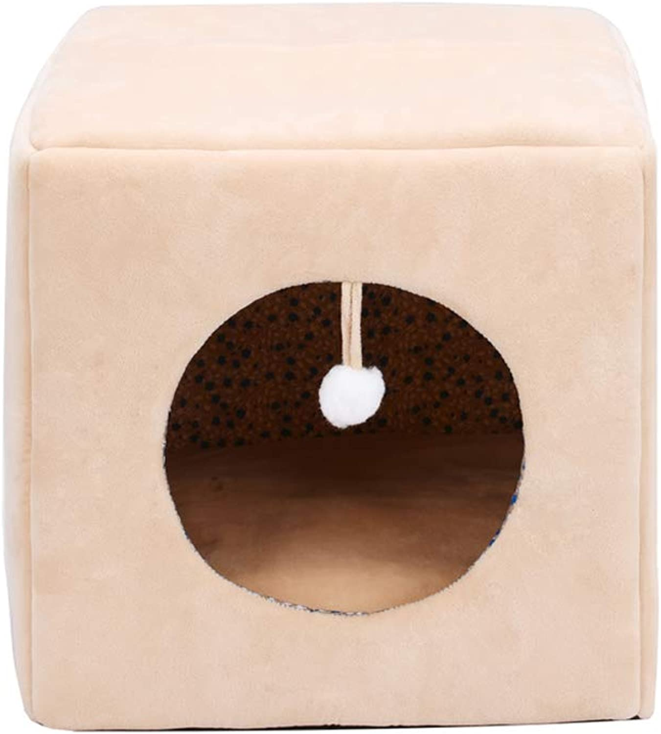 FH Cat Litter, Closed Dog Room, Warm Winter Pet Nest  Suitable for Small and Medium Pets, 38×38×38cm (color   Skin Tone)