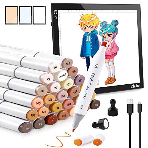 36 Skin-Tone Colors Alcohol Markers, Ohuhu Double Tipped Sketch Art Marker+ LED Light Box, Ohuhu A4 LED Artcraft Tracing Pad with 3 Colors Light
