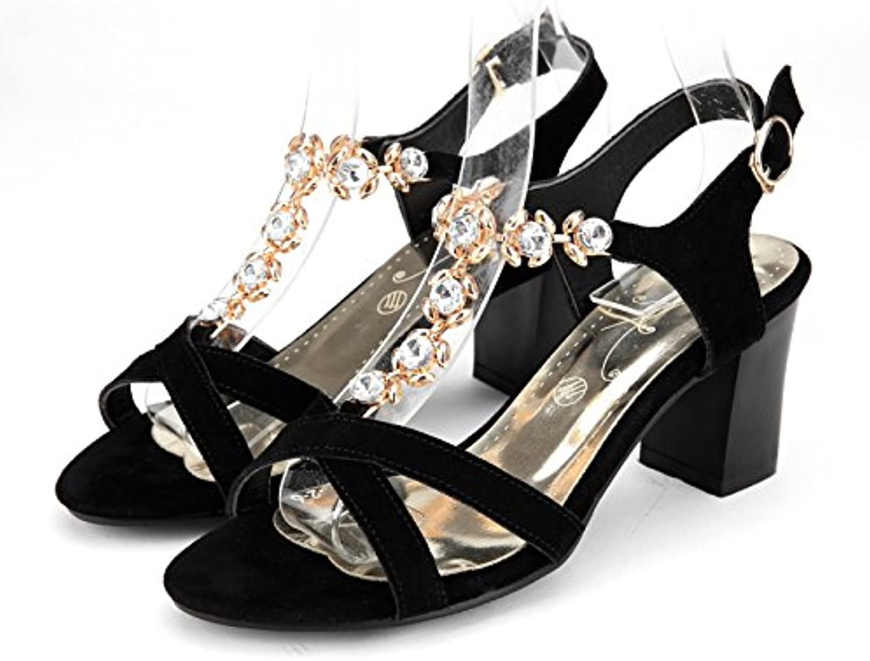 AIWEIYi Womens Leather Rhinestone T Strap Chunky Heel Ankle Strap Dress Sandals Black