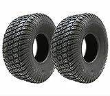 Lot de 2 pneus pour tondeuse à gazon avec chambre à air 4 plis 15 x 600 x 6 mm