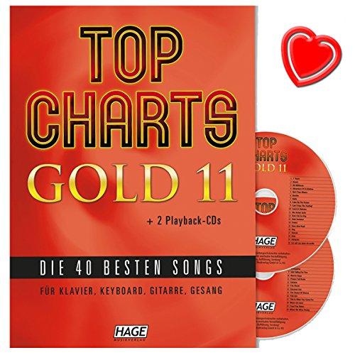Top Charts Gold 11-40 besten Songs für Klavier, Keyboard, Gitarre und Gesang mit 2 CDs und bunter herzförmiger Notenklammer