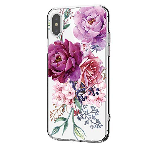 Hülle für iPhone XR Hülle Weich Silikon Handyhülle Blumen Schlank Floral Handytasche Flexible Schutzhülle Protective Gummi Dünn Abdeckung Bumper Cover für iPhone XR (4)