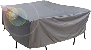 GDMING Waterproof Garden Rattan Furniture Cover Thicken Patio Set Cover Snow Protection Anti-UV Rectangular Table Dining Set,Customizable (Color : Gray, Size : 215×215×87CM)