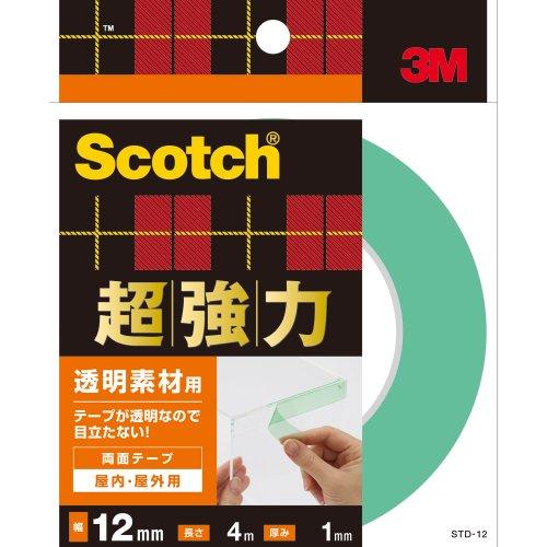 3M スコッチ 超強力両面テープ 透明素材用 12mm×4m STD-12
