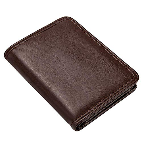 Boner Heren Portemonnees Bifold Slim Kaarthouders Heren Casual Portemonnee Pu-leer Zakelijk Creditcard-etui, koffie