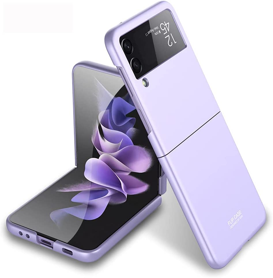 PUROOM for Samsung Galaxy Z Flip 3 Case Ultra Thin Hard PC Matte All-Inclusive Shookproof Case Plastic Fold Cover for Samsung Galaxy Z Flip 3 5G (Purple)