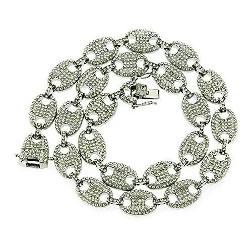 YHQKJ Collar de Arco Iris de Hip Hop, Diamantes a Todo Color Collar de Cadena de Hombres Colgantes Hipster (Color : Silver White, Size : 24inch)