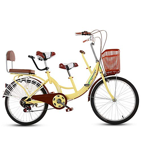 FLYFO Bicicletta Tandem da 22 Pollici, Biciclette Madre-Figlio Madre-Figlio Incorniciate con Bambini Che Guidano Mobilità All'aperto con Bicicletta A Due Posti per Bambini
