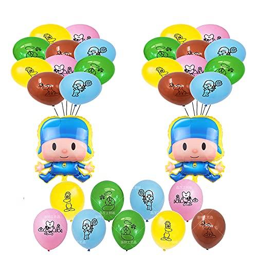 POCOYO - Globos de decoración de cumpleaños POCOYO para decoración de habitación de niños, 2,1 x 1,5 m (2020137pocoyo, 32 unidades)