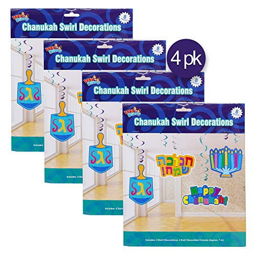 Hanukkah Party Decorations and Supplies by Izzy n Dizzy Dreidels and Happy Chanuka Dreidels and Happy Chanuka Hanukkah Party Decorations and Supplies by Izzy /'n/' Dizzy Hanukkah Confetti 3 Styles Each: Menorahs 4 Pack