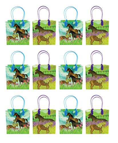 Horse and Pony Themed Party Favor Bags Treat Bags, 12 Pack