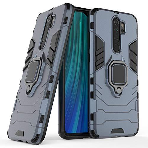 COOVY® Cover für Xiaomi Redmi Note 8 Pro Bumper Case, Plastik + TPU-Silikon, extra stark, Anti-Shock, Stand Funktion + Magnethalter | Navyblau