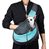 WOYYHO Pet Dog Sling Carrier Puppy Sling Bag Small Cats Dogs Sling Adjustable Strap Breathable Mesh for Outdoor Travel(M(up to 10 lbs),Cyan)