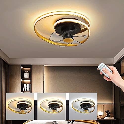 LED Deckenventilator Mit Beleuchtung, Dimmbare Deckenleuchte, Stufenloses Dimmen Mit Fernbedienung, Einstellbare Helligkeit, Deckenlampe, Ventilator, Esszimmerlampe, Wohnzimmer, Schlafzimmer
