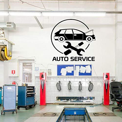 Hllhpc Autoservice, ramen, bandentrekker, reparatie van auto's, handgemaakt, vinylsticker, afneembaar, 61 x 57 cm