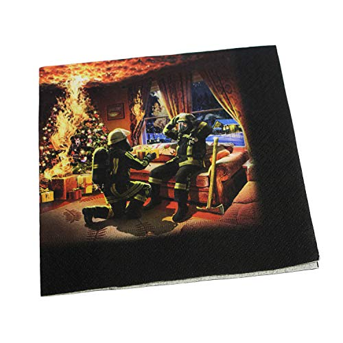 Feuerwehr Weihnachtsfeier & Jubiläums Gedeck Servietten im 20 Stück Paket Tissue 3-lagig