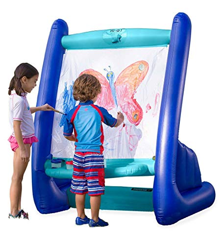 """HearthSong Heavy-Duty Vinyl Inflatable Indoor and Outdoor Easel for Kids with Paints, Sponges, Paintbrush, and Built-in Art Tray, 39"""" L x 27"""" W x 50"""" H"""