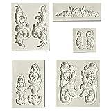 Estilo barroco retro alivio Fondant molde vintage marco de fotos moldes de silicona para azúcar decoración de la torta de la decoración...