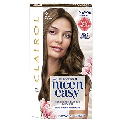 Clairol Nice'n Easy Permanent Hair Color, 6 Light Brown, 1 Count
