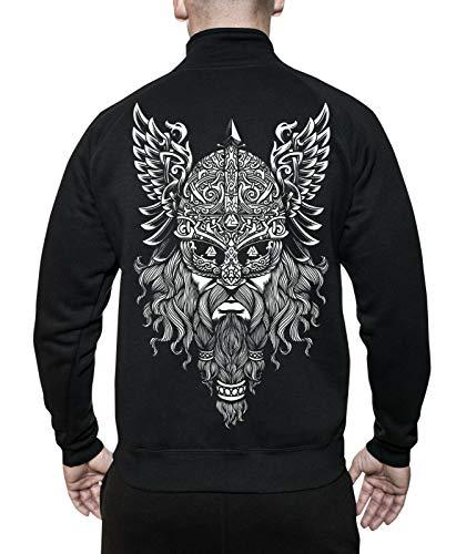 mycultshirt Odin Jacke | Valknut | Vikings | Wikinger | Runen | Germanen | Walhalla | Nordic Mythology | Spirit | Thor | Gott | Krieger |Stehkragenjacke für Männer | Sweatjacke| Ragnar |