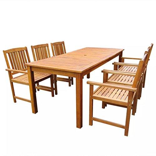 Nishore Set de Comedor de Jardín Conjunto de Mesa y Sillas de Exterior Madera de Acacia 7 Piezas (Marrón)