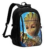 Groot Backpack-Business Mochila antirrobo de viaje con cable de carga USB/interfaz de auriculares de...